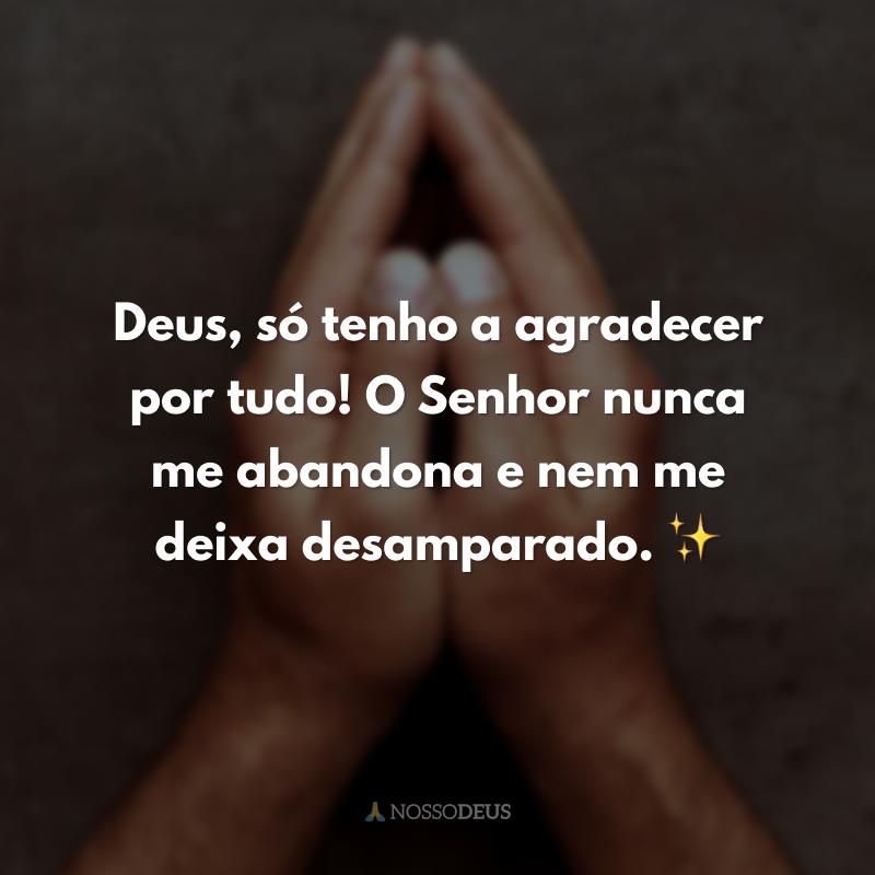 Deus, só tenho a agradecer por tudo! O Senhor nunca me abandona e nem me deixa desamparado. ✨