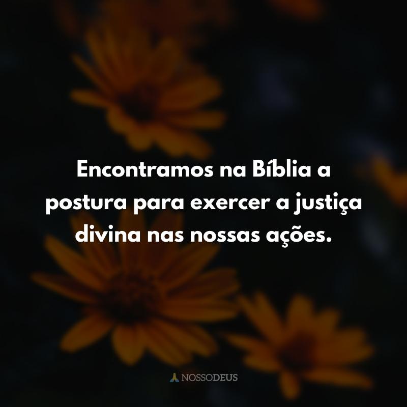 Encontramos na Bíblia a postura para exercer a justiça divina nas nossas ações.