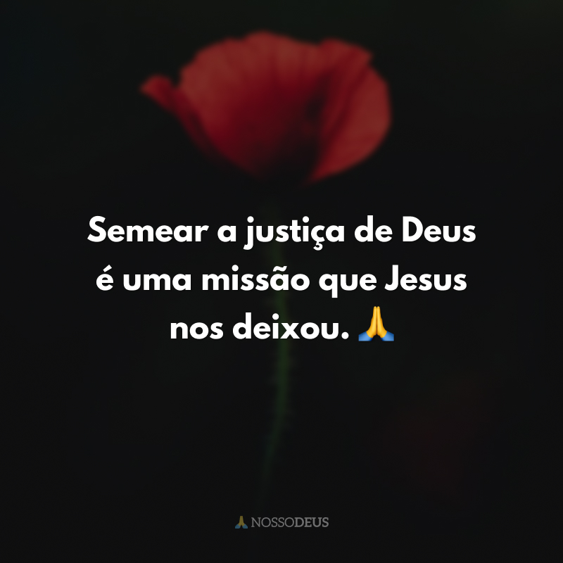 Semear a justiça de Deus é uma missão que Jesus nos deixou. 🙏