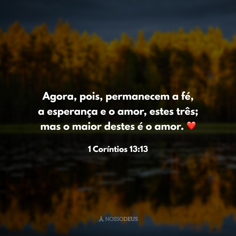 Agora, pois, permanecem a fé, a esperança e o amor, estes três; mas o maior destes é o amor. ❤