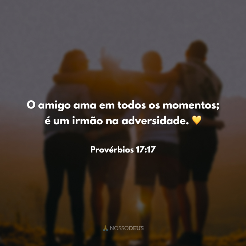 O amigo ama em todos os momentos; é um irmão na adversidade. 💛