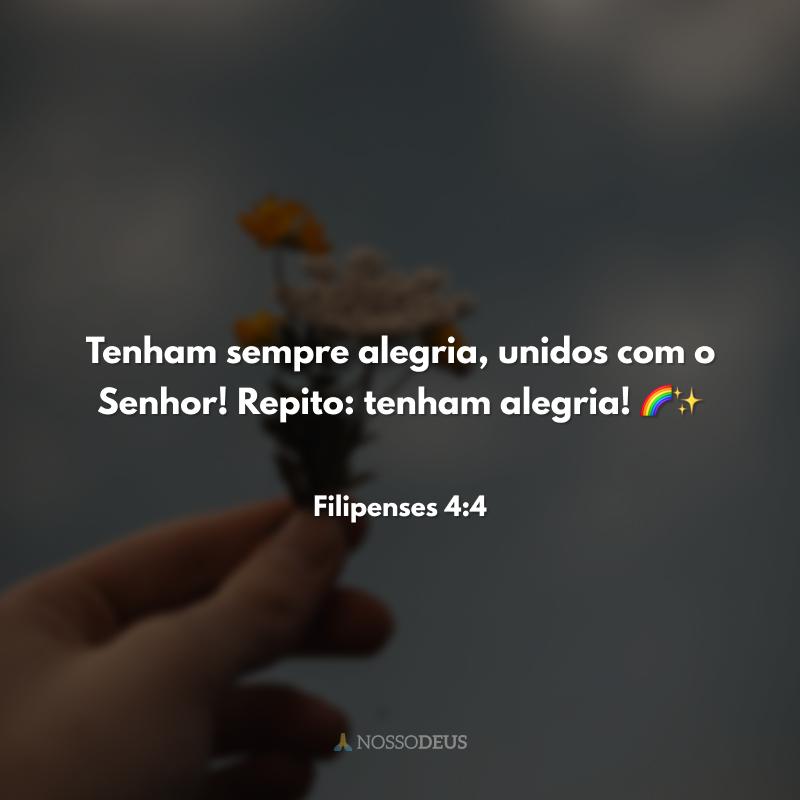 Tenham sempre alegria, unidos com o Senhor! Repito: tenham alegria! 🌈✨