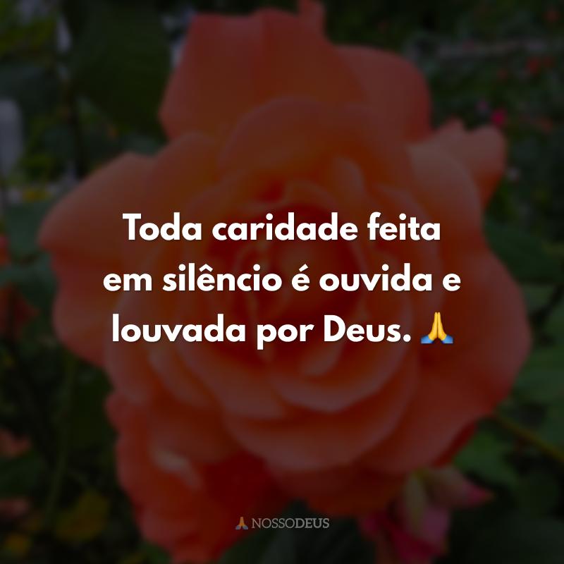 Toda caridade feita em silêncio é ouvida e louvada por Deus. 🙏