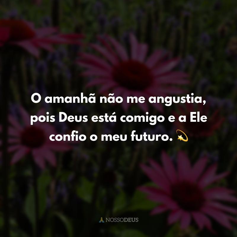 O amanhã não me angustia, pois Deus está comigo e a Ele confio o meu futuro. 💫