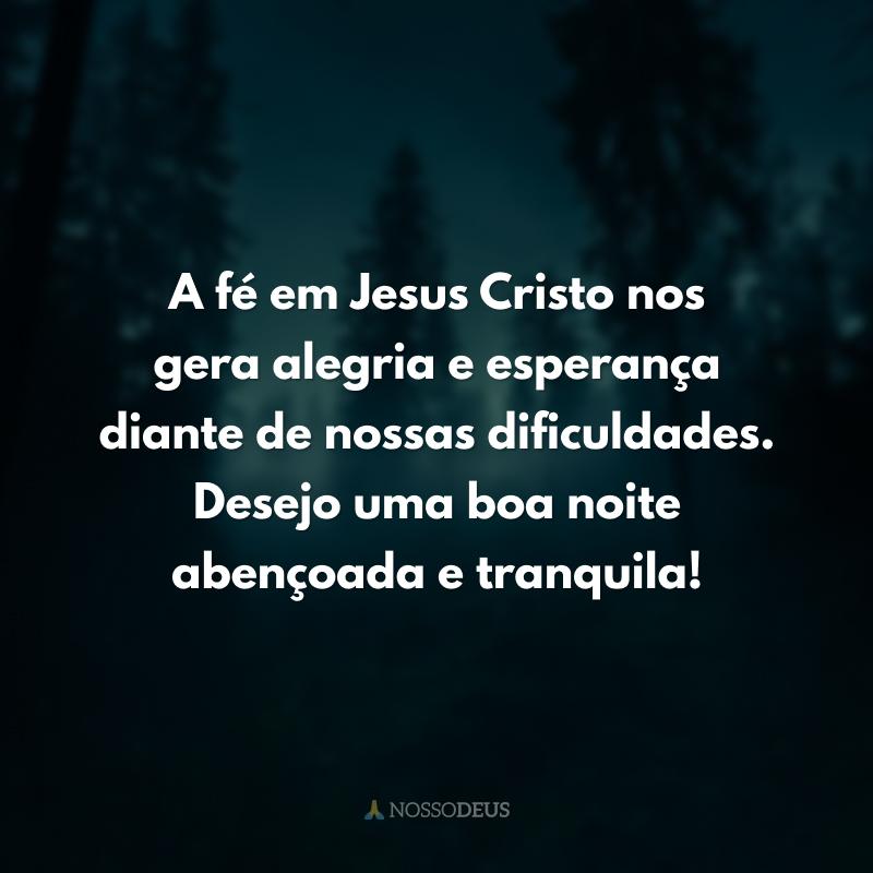 A fé em Jesus Cristo nos gera alegria e esperança diante de nossas dificuldades. Desejo uma boa noite abençoada e tranquila!