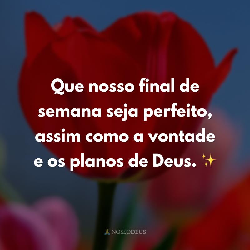 Que nosso final de semana seja perfeito, assim como a vontade e os planos de Deus. ✨