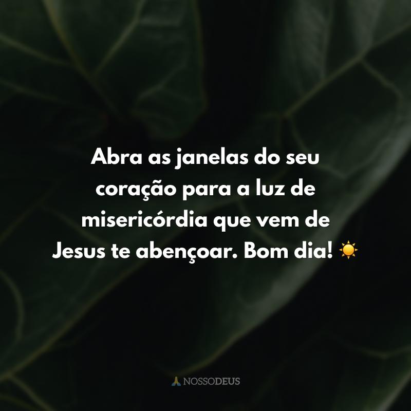 Abra as janelas do seu coração para a luz de misericórdia que vem de Jesus te abençoar. Bom dia! ☀