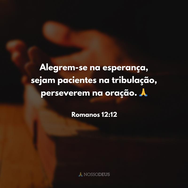 Alegrem-se na esperança, sejam pacientes na tribulação, perseverem na oração. 🙏