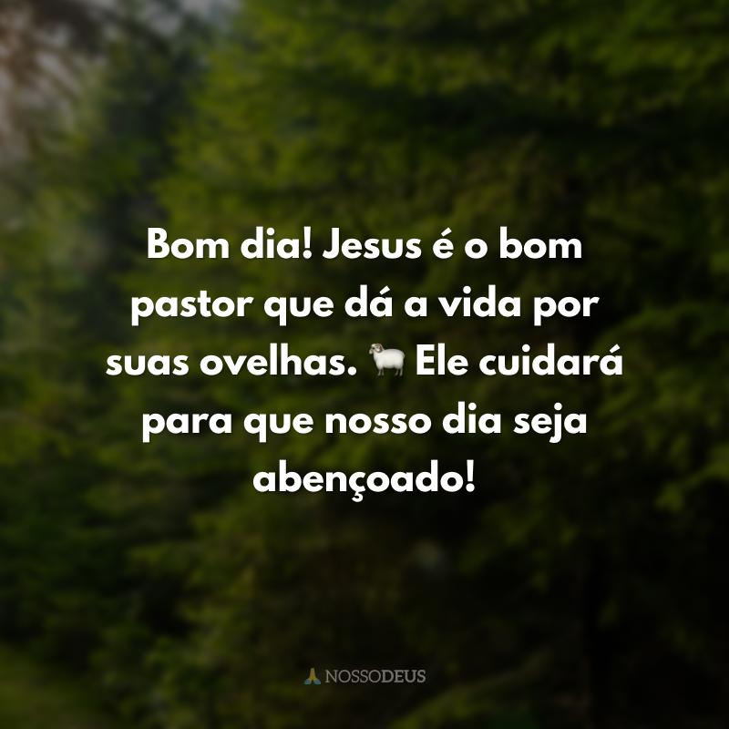 Bom dia! Jesus é o bom pastor que dá a vida por suas ovelhas. 🐑 Ele cuidará para que nosso dia seja abençoado!