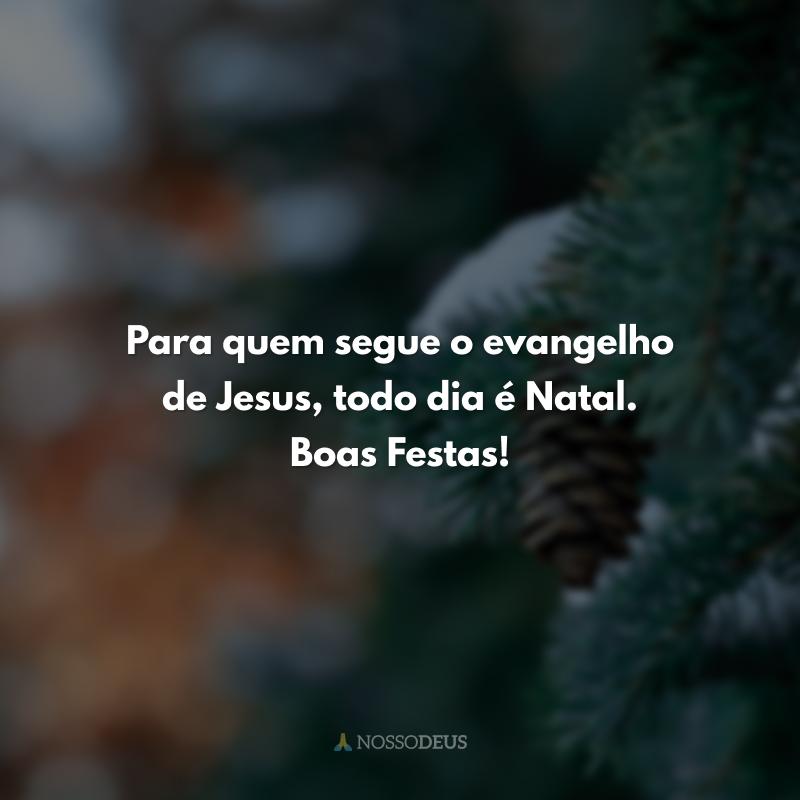 Para quem segue o evangelho de Jesus, todo dia é Natal. Boas Festas!