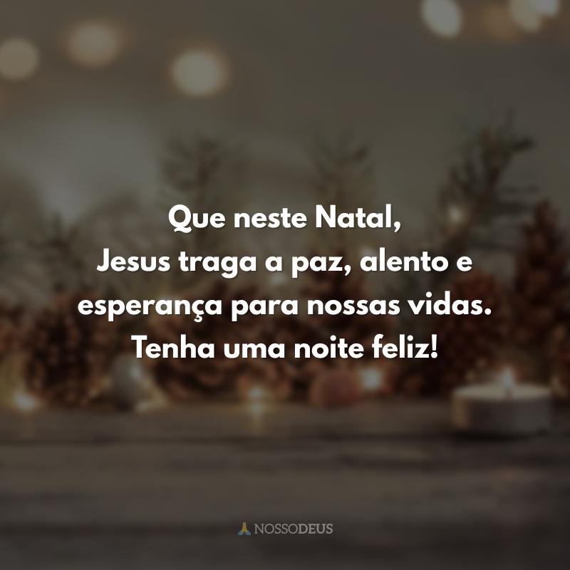 Que neste Natal, Jesus traga a paz, alento e esperança para nossas vidas. Tenha uma noite feliz!