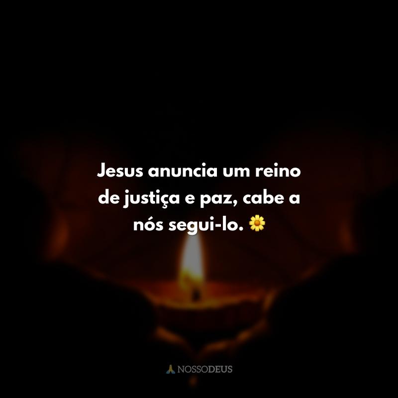 Jesus anuncia um reino de justiça e paz, cabe a nós segui-lo. 🌼