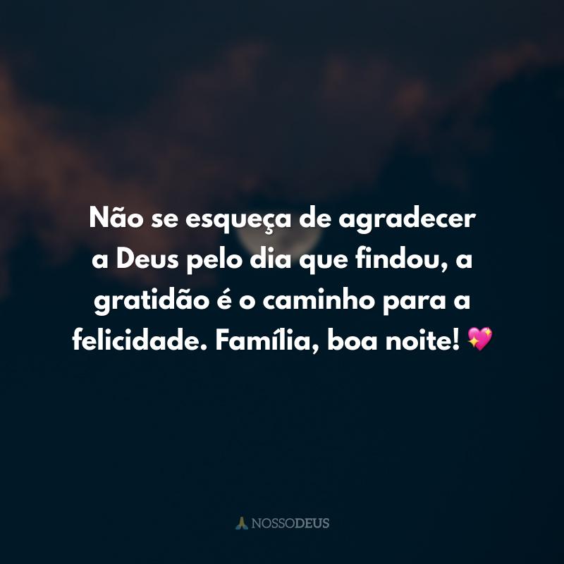 Não se esqueça de agradecer a Deus pelo dia que findou, a gratidão é o caminho para a felicidade. Família, boa noite! 💖