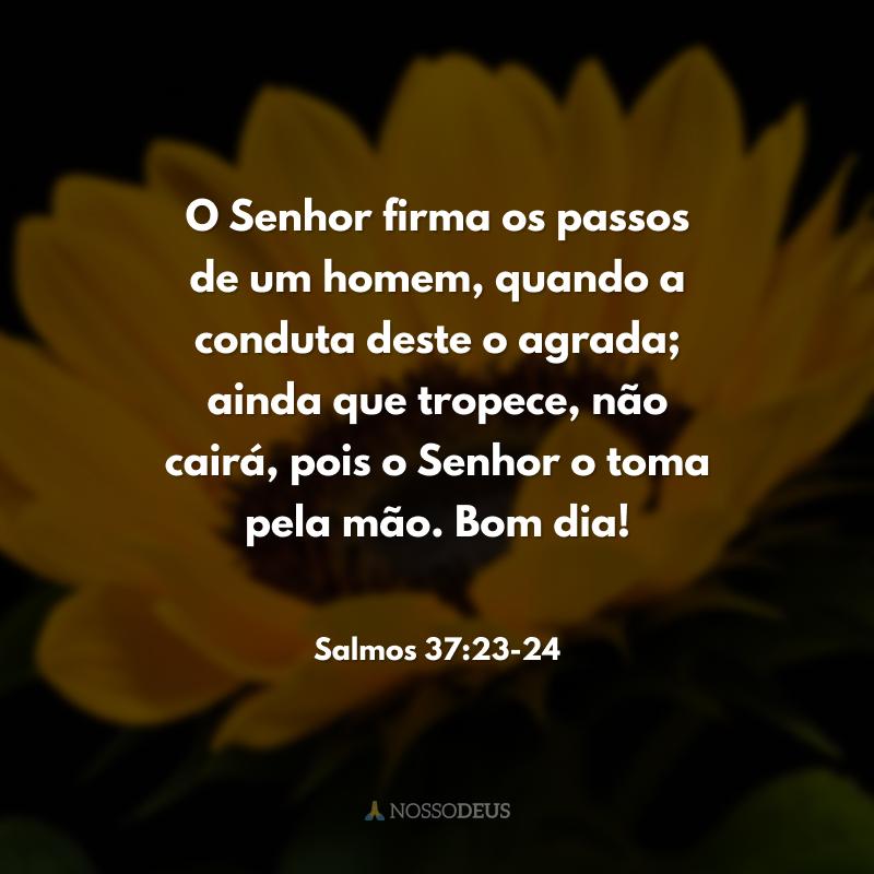 O Senhor firma os passos de um homem, quando a conduta deste o agrada; ainda que tropece, não cairá, pois o Senhor o toma pela mão. Bom dia!