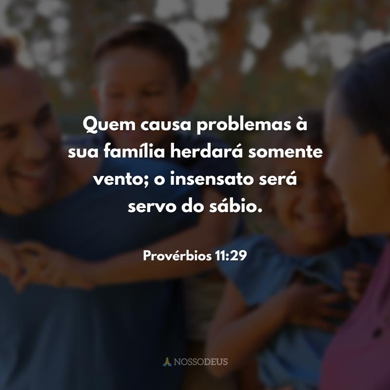 Quem causa problemas à sua família herdará somente vento; o insensato será servo do sábio.