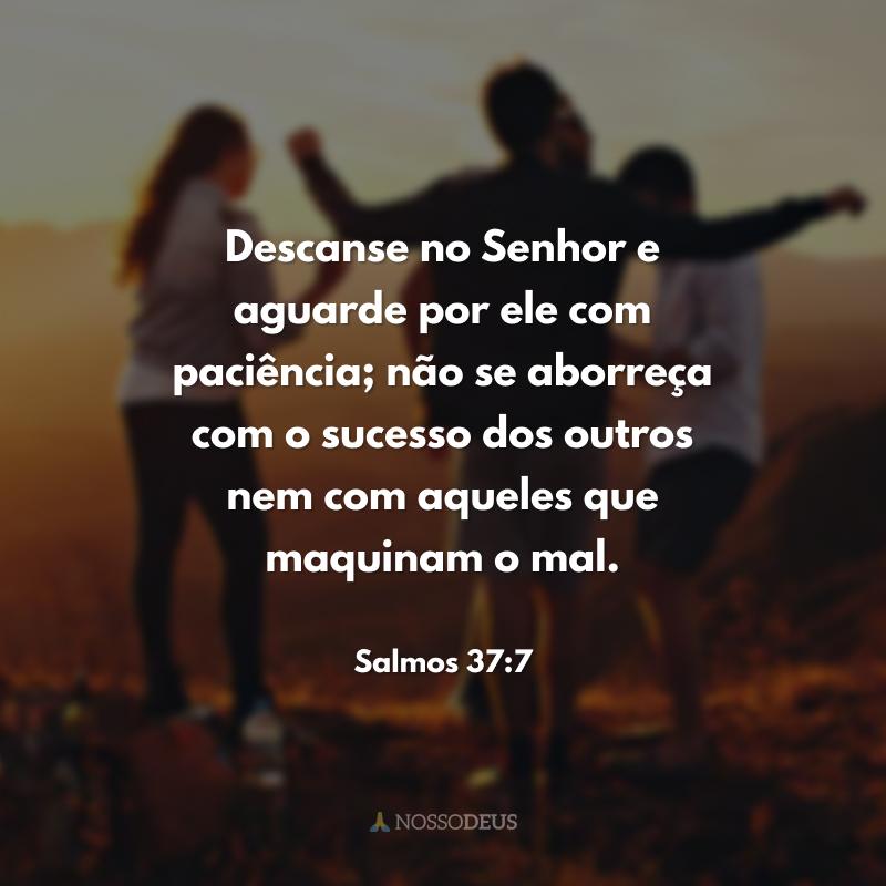 Descanse no Senhor e aguarde por ele com paciência; não se aborreça com o sucesso dos outros nem com aqueles que maquinam o mal.
