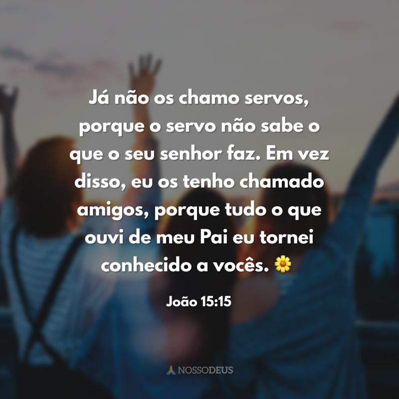 Já não os chamo servos, porque o servo não sabe o que o seu senhor faz. Em vez disso, eu os tenho chamado amigos, porque tudo o que ouvi de meu Pai eu tornei conhecido a vocês. 🌼
