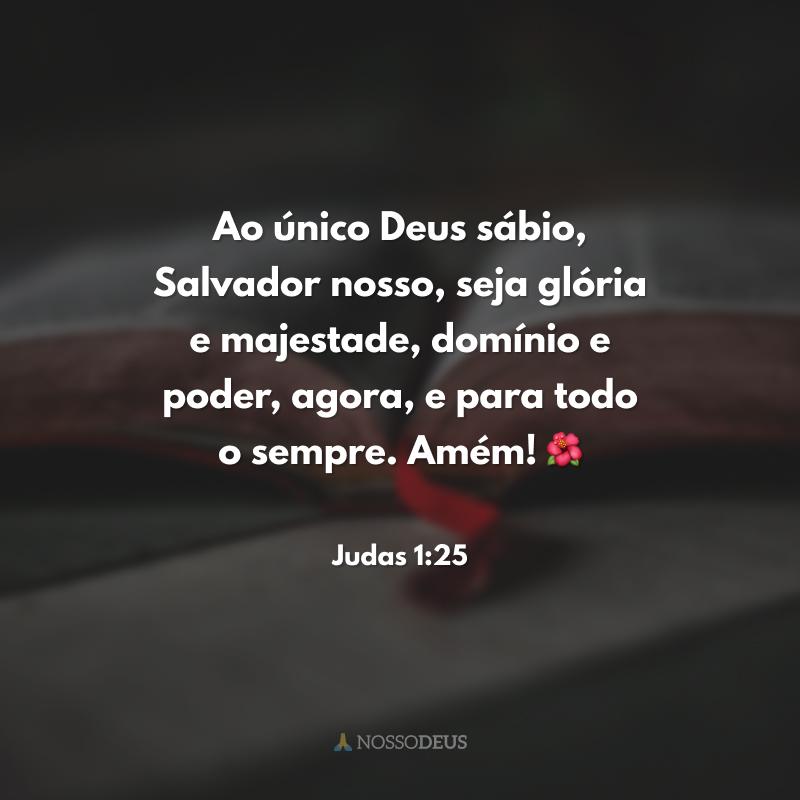 Ao único Deus sábio, Salvador nosso, seja glória e majestade, domínio e poder, agora, e para todo o sempre. Amém! 🌺
