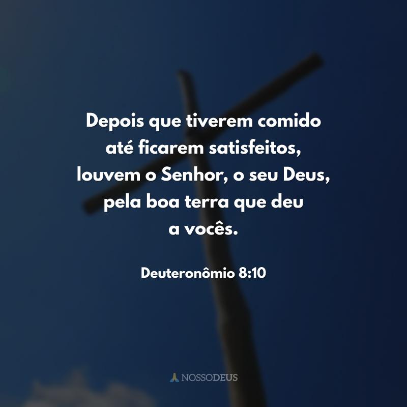 Depois que tiverem comido até ficarem satisfeitos, louvem o Senhor, o seu Deus, pela boa terra que deu a vocês.