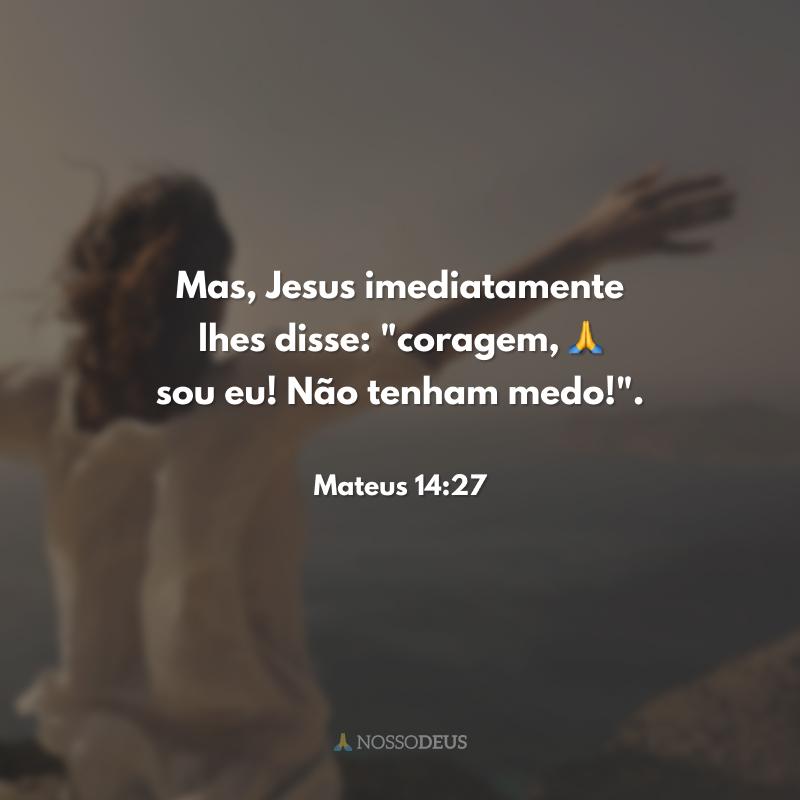 Mas, Jesus imediatamente lhes disse:
