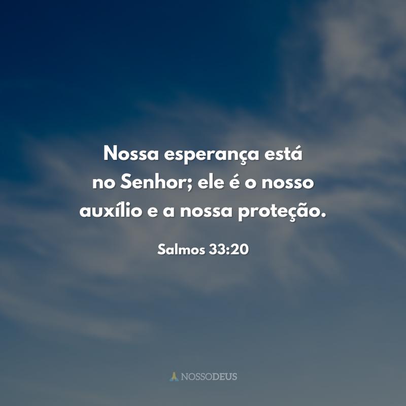 Nossa esperança está no Senhor; ele é o nosso auxílio e a nossa proteção.
