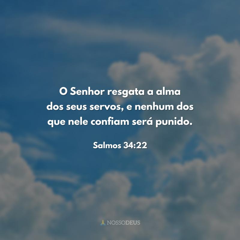O Senhor resgata a alma dos seus servos, e nenhum dos que nele confiam será punido.