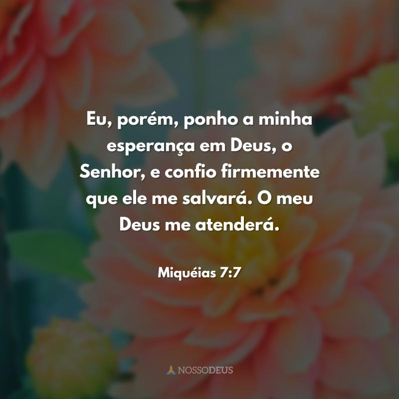 Eu, porém, ponho a minha esperança em Deus, o Senhor, e confio firmemente que ele me salvará. O meu Deus me atenderá.